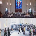 Igreja profanada, transformada em uma academia.