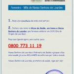Inscreva seus pedidos na Missa da Saúde. Ligue grátis no: 0800 773 1119