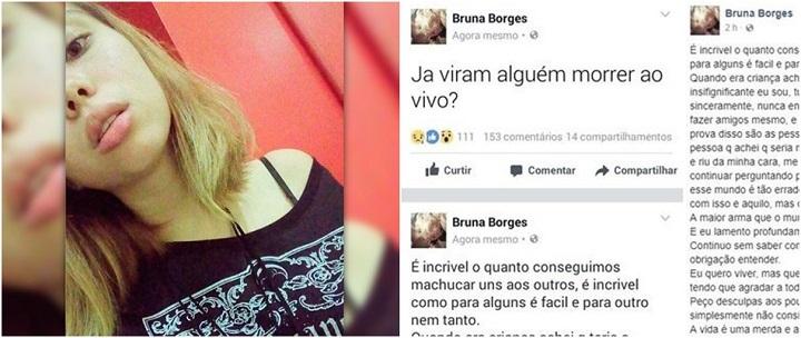 Bruna Borges, falando sobre tirar a própria vida ao vivo nas redes sociais. Momentos depois cometeu suicídio