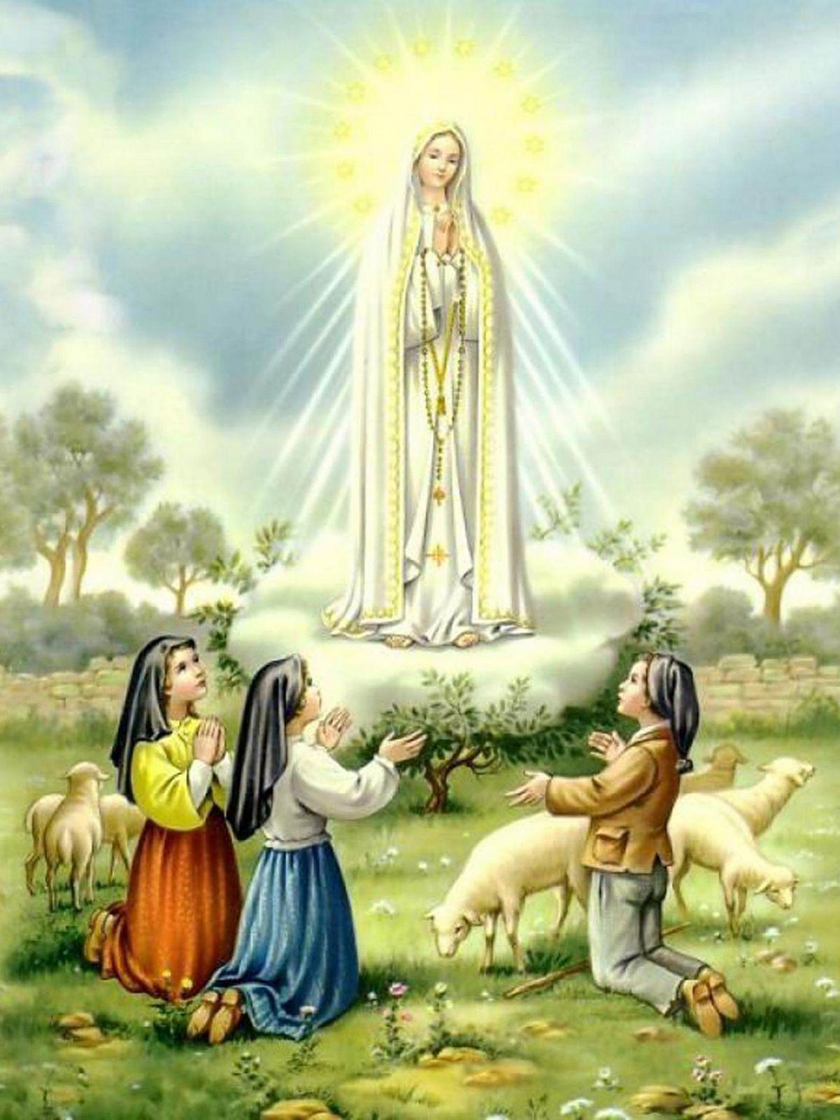 Nossa Senhora em Fátima aos Três Pastorinhos.