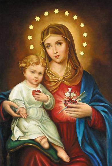 Imaculado Coração de Maria com o Menino Jesus