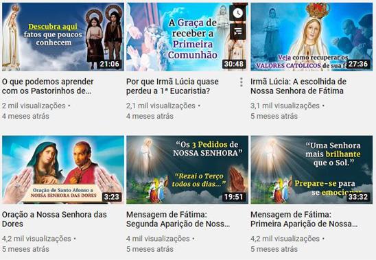 Canal Devotos de Fátima no Youtube