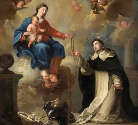 O Segredo do Rosário - Maria entrega o Rosário a São Domingos