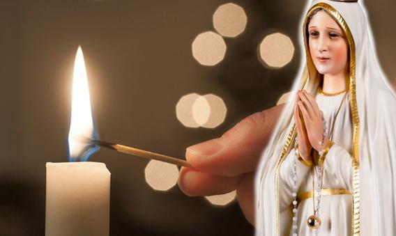 Coronavírus: Oração a Maria em Tempos de Provação - Vela e Nossa Senhora de Fátima