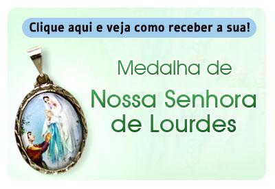 Botão da Medalha de Nossa Senhora de Lourdes
